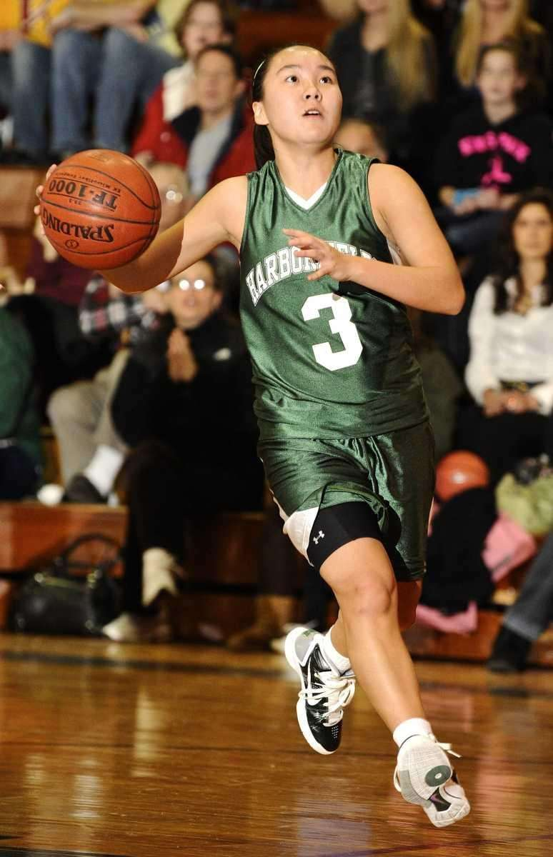 Harborfields' Lynn Zhong drives to the basket during