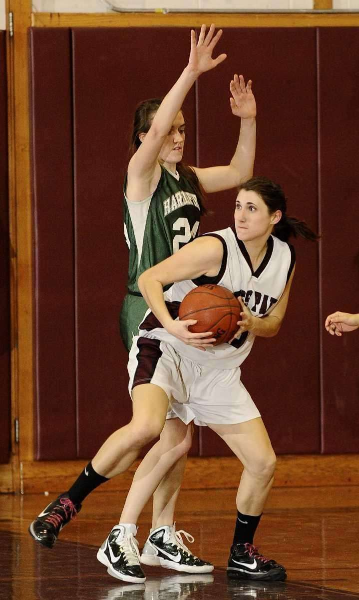 Harborfields' Bridgit Ryan guards Kings Park's Taylor Bailey
