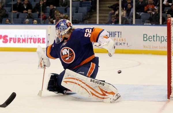 Nathan Lawson #52 of the New York Islanders