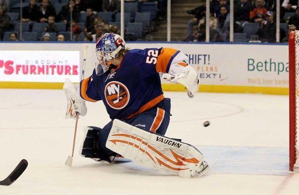 Nathan Lawson #52 of the New York Islanders