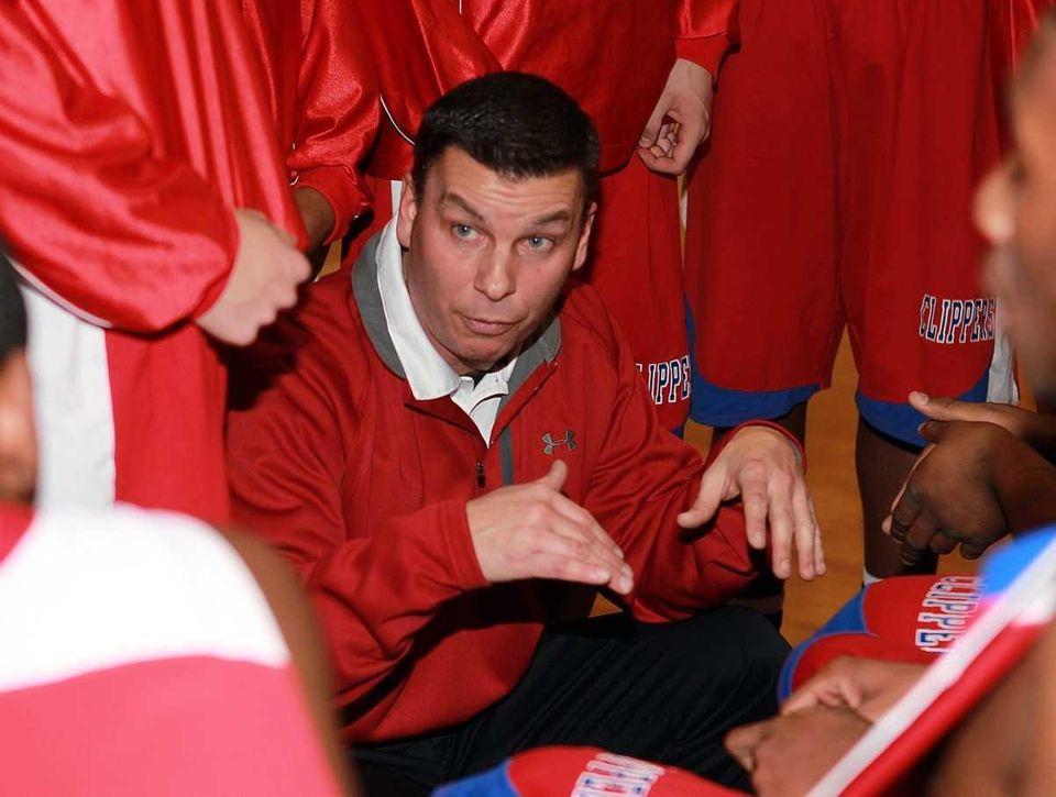 Bellport boys basketball head coach Peter Grossi. (Jan.