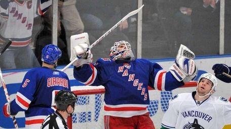 New York Rangers goaltender Henrik Lundqvist (30) reacts