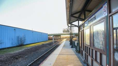 The LIRR train station in Yaphank on Jan.