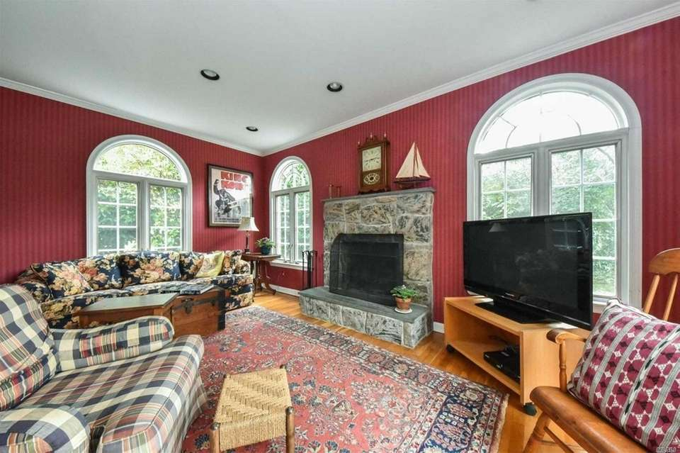 The family room features a fireplace and sliding