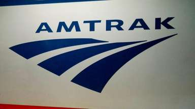The Amtrak logo as seen on a train
