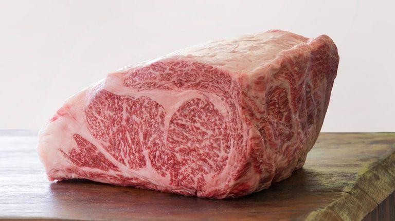 An A5 ribeye of Wagyu beef is extravagantly
