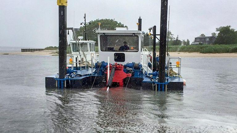 Dredging operations in June in East Creek in