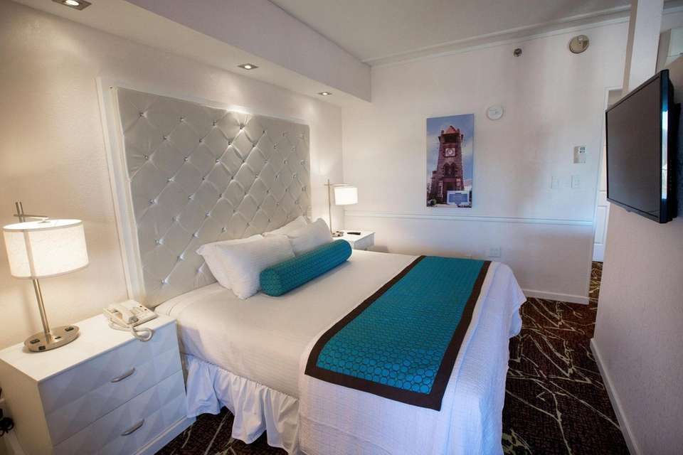 The bedroom in the Harbor Suite at the