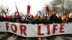 Anti-abortion activists march Friday in Washington.