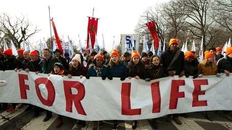 Anti-abortion activists march Friday in Washington.