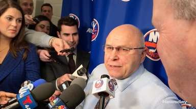 Islanders head coach Barry Trotz spoke to media