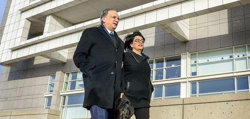 Edward and Linda Mangano are seen Thursday outside