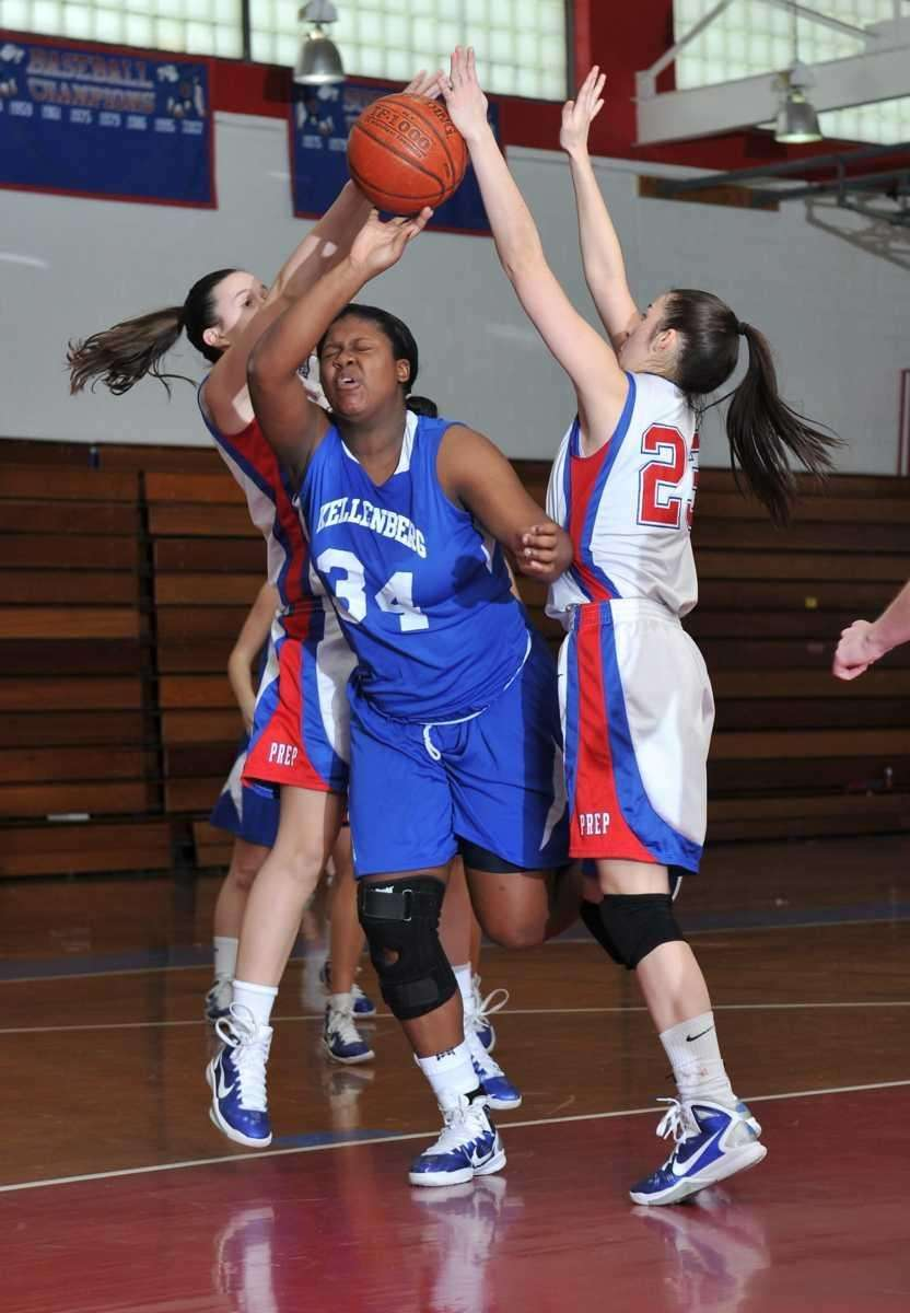 Kellenberg junior center Khadijah Donaldson (34) is fouled