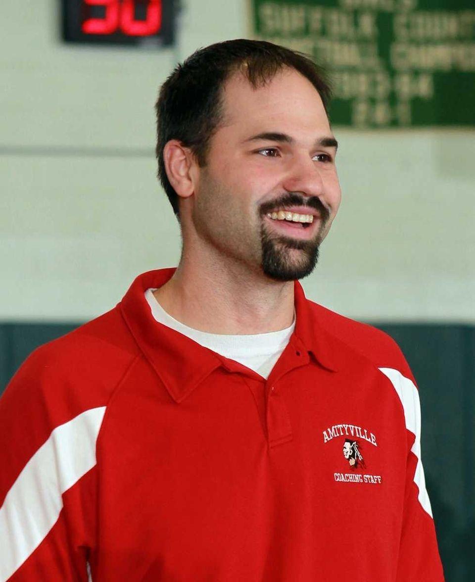 Amityville girls varsity basketball head coach George Karafantis.