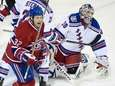 Montreal Canadiens' Travis Moen, left, celebrates a goal