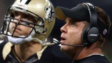 Drew Brees and New Orleans Saints coach Sean