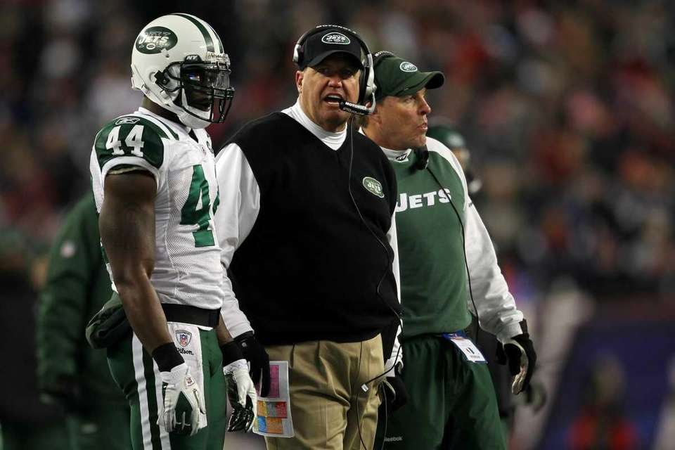 Head coach Rex Ryan and James Ihedigbo #44