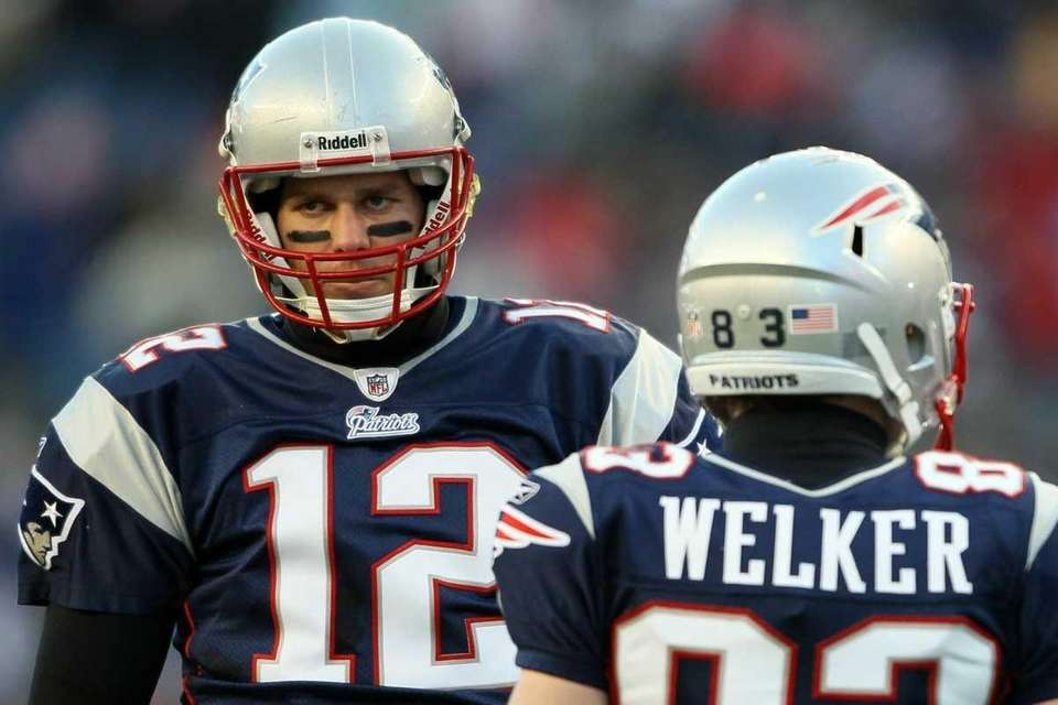 Tom Brady #12 and Wes Welker #83 of