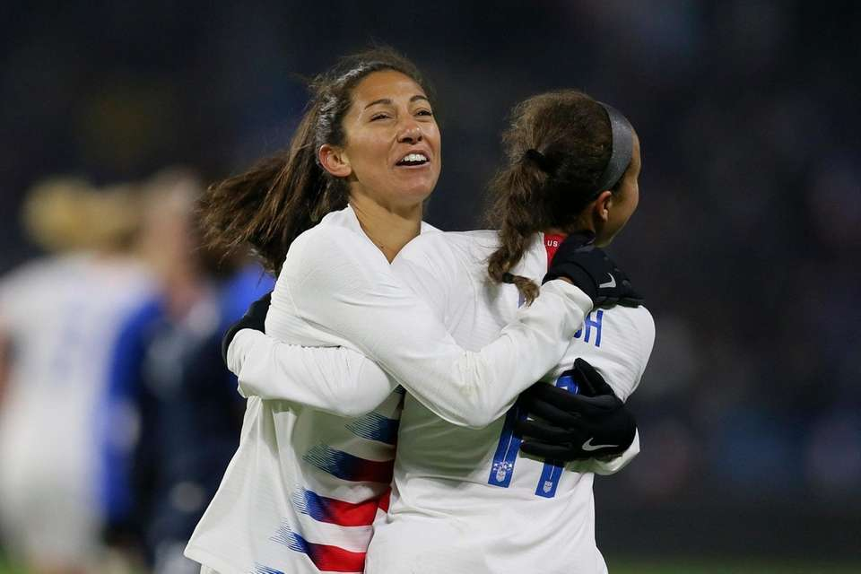 U.S. forward Mallory Pugh, right, celebrates with teammate