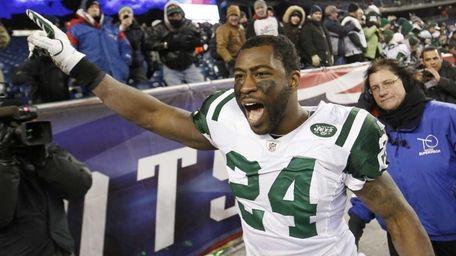 New York Jets cornerback Darrelle Revis celebrates his