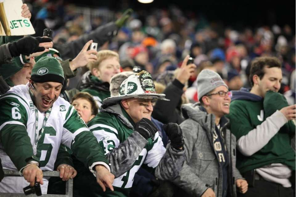 Fireman Ed celebrates the Jets win over the