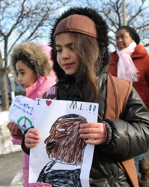 Taylor Monserrate, 6, of Brooklyn, left, and Leilani