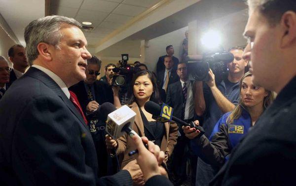 Nassau County Executive Edward Mangano speaks to the