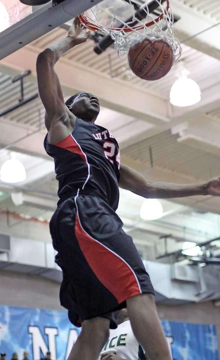 Long Island Lutheran's Achraf Yacoubou throws down a