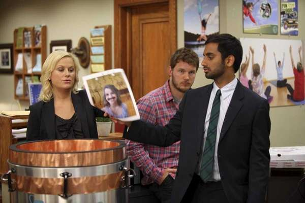 Amy Poehler and Andy Dwyer Aziz Ansari as