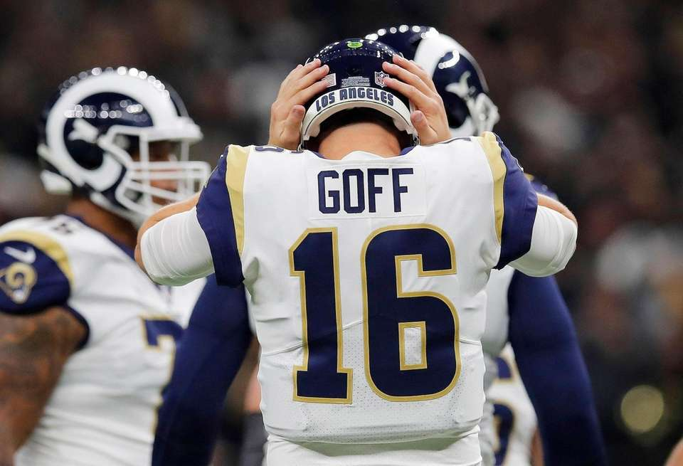 Los Angeles Rams' Jared Goff struggles to hear