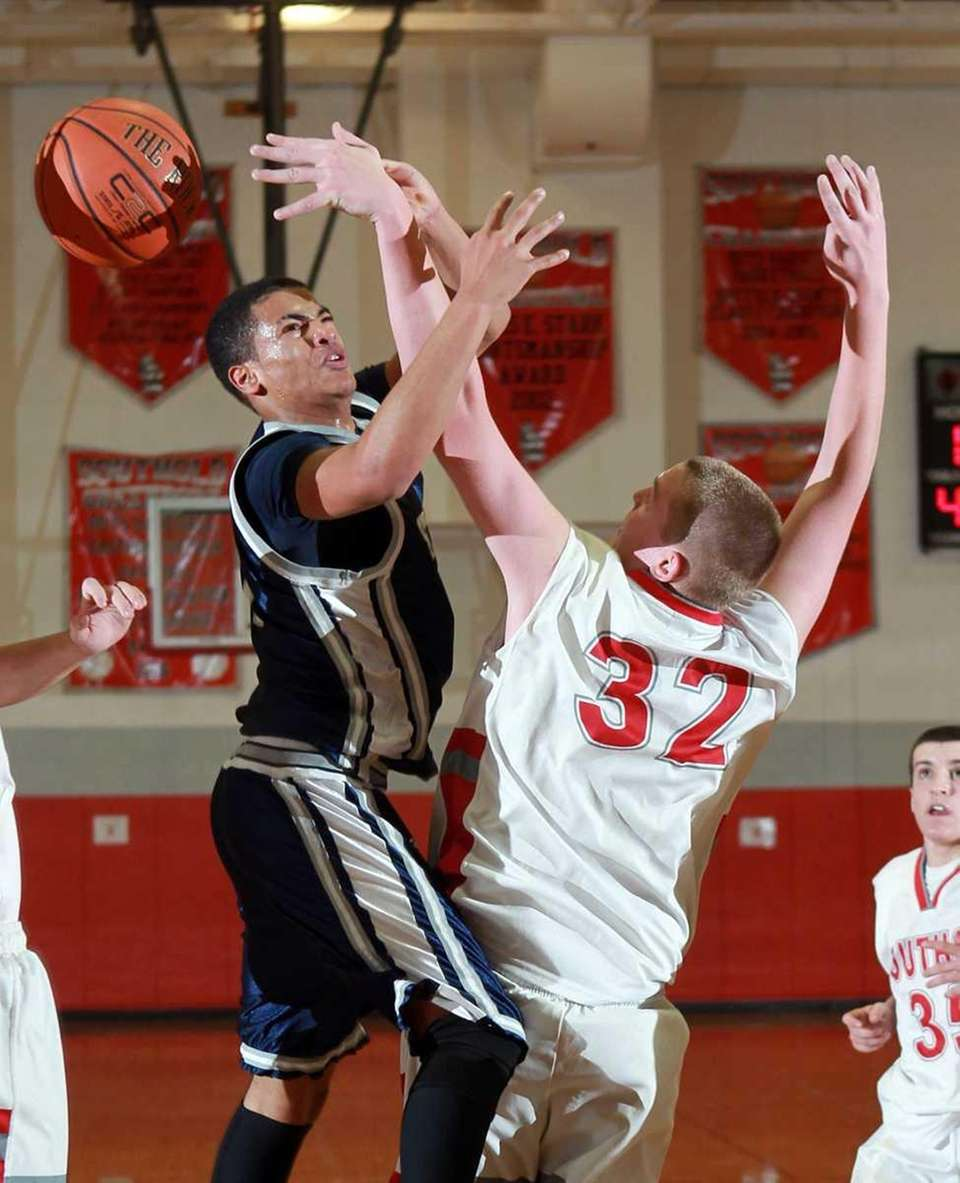 Southold's Alex Sinclair (32) is called for the