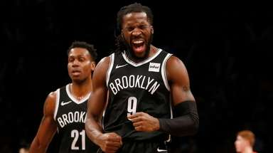 DeMarre Carroll #9 of the Brooklyn Nets reacts