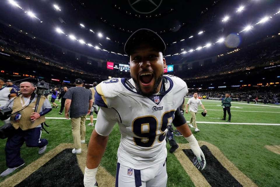 Aaron Donald #99 of the Los Angeles Rams