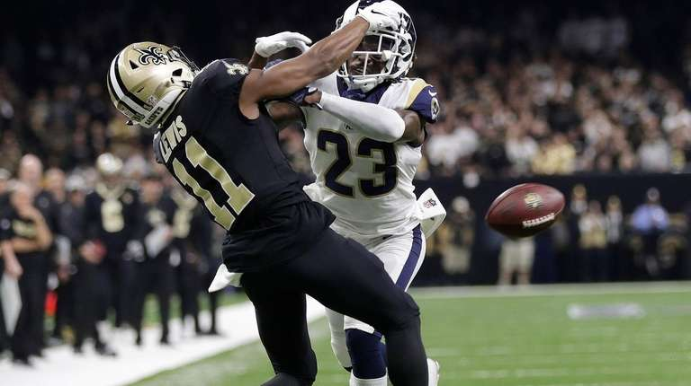 Rams' Nickell Robey-Coleman hits the Saints' Tommylee Lewis