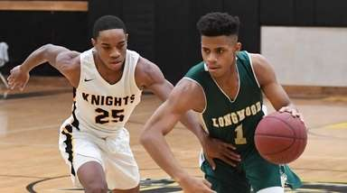 Longwood guard Isaiah Whitty drives the ball past