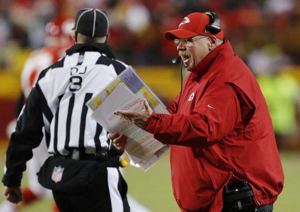 Kansas City Chiefs head coach Andy Reid argues