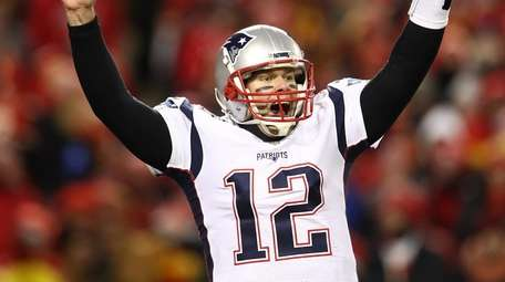 Tom Brady of the Patriots celebrates after defeating