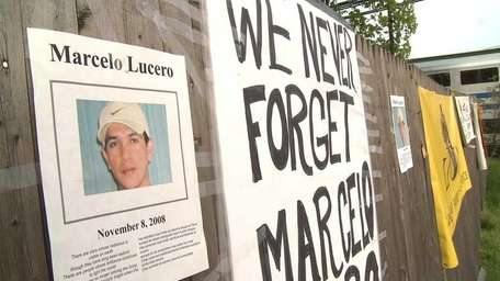 A poster remembers Marcelo Lucero in 2009, six