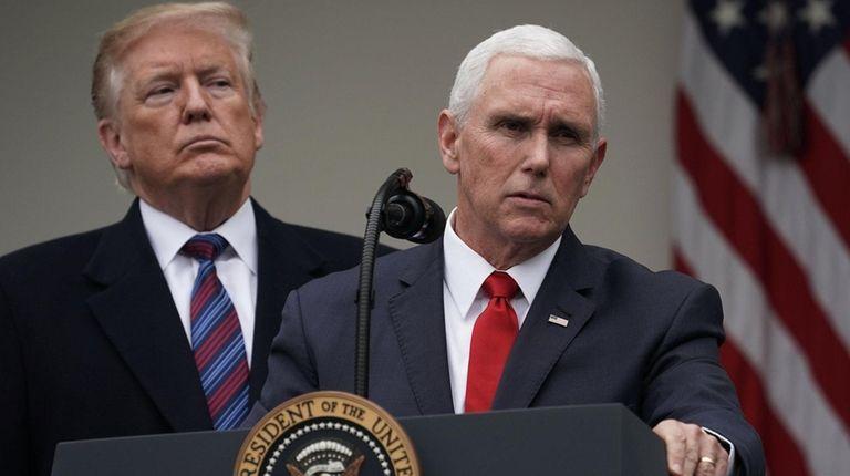 Vice President Mike Pence speaks as President Donald