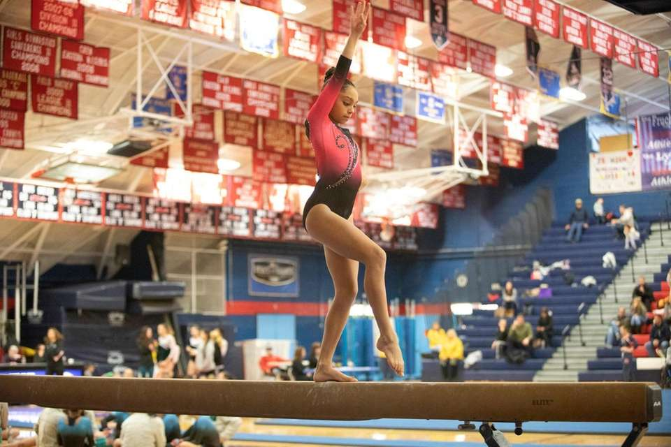 Jenna Kolbery, of Syosset High School, compete during