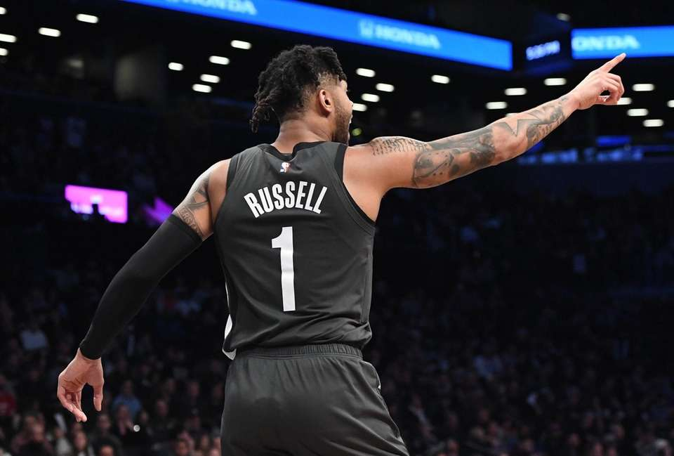 Brooklyn Nets guard D'Angelo Russell gestures against the