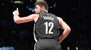 Brooklyn Nets guard Joe Harris reacts after he