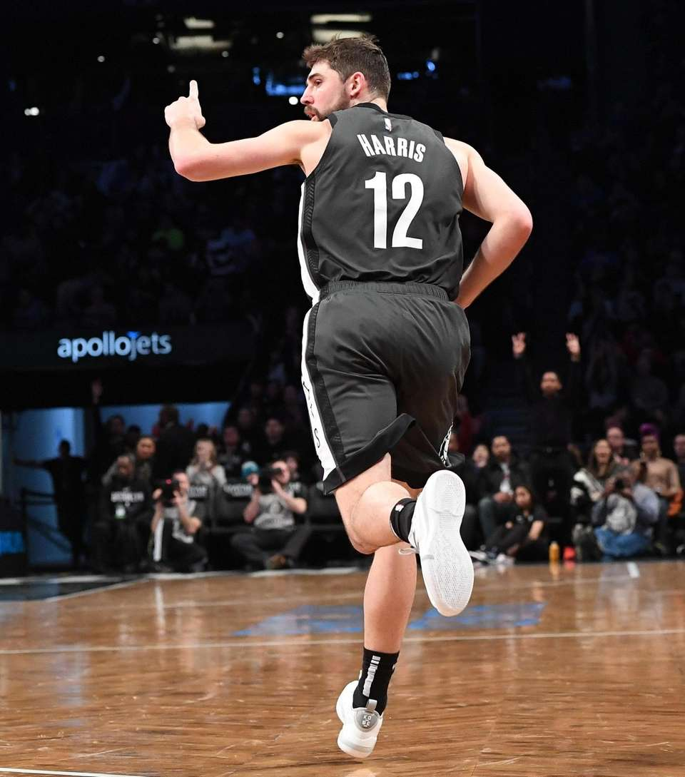 Brooklyn Nets guard Joe Harris reacts after he