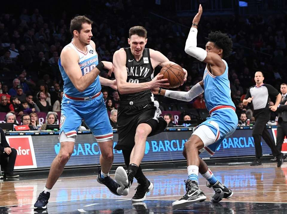 Brooklyn Nets forward Rodions Kurucs drives the ball