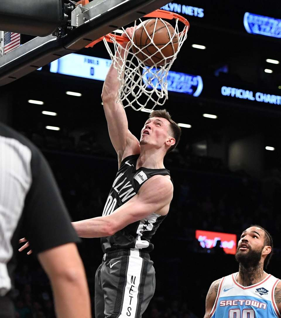 Brooklyn Nets forward Rodions Kurucs puts up a