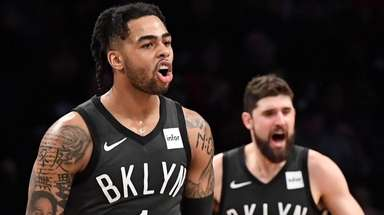 Brooklyn Nets guard D'Angelo Russell, left, and Nets