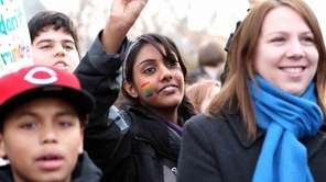 Student Aneesa Rafeek attends a rally for starting