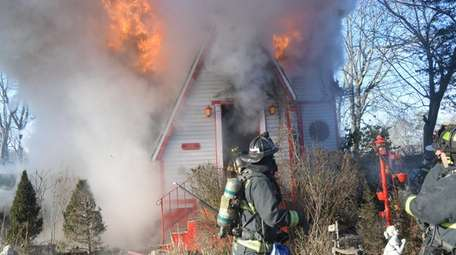 The Wyandanch Fire Company responds to a house