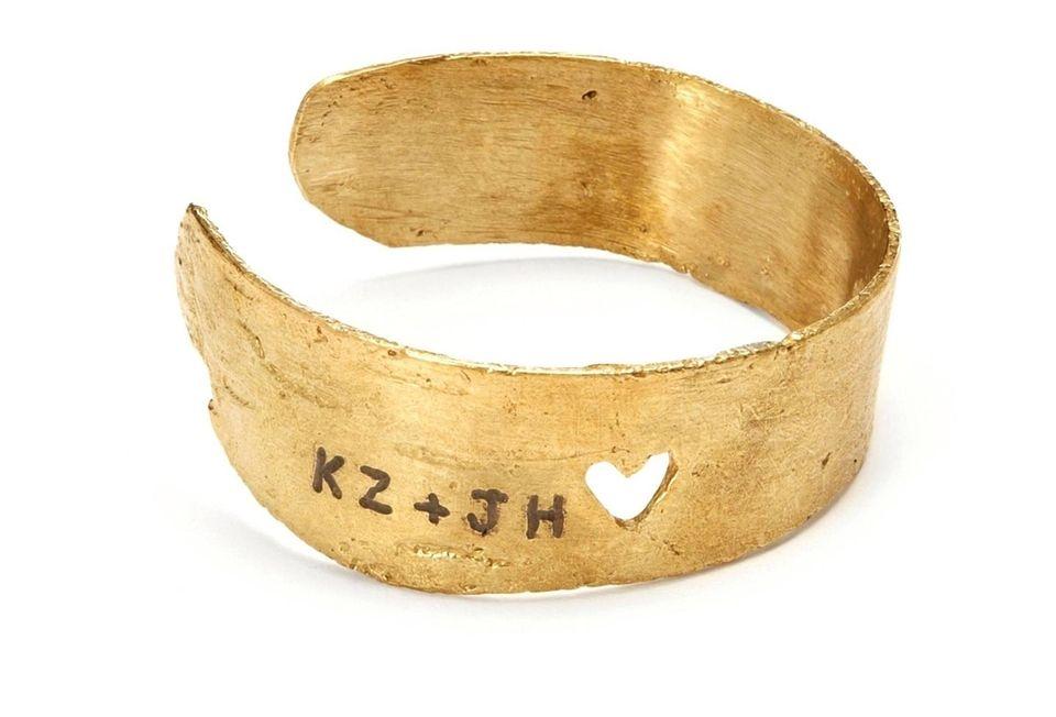 Cast from birch bark, this handmade brass bracelet