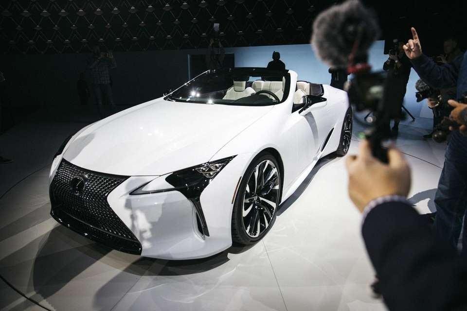 The Lexus LC convertible concept vehicle is displayed